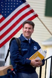 Postal Worker with Flag
